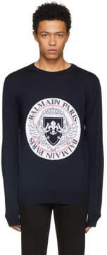Balmain Navy Coin Intarsia Sweater