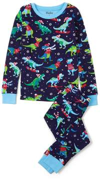 Hatley Boy's Winter Sports T-Rex Pajama Set