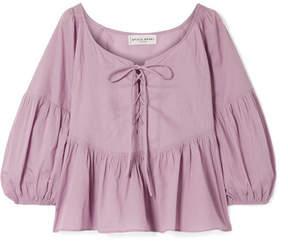 Apiece Apart Isak Lace-up Cotton-voile Peplum Top - Lavender