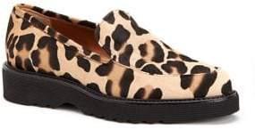 Aquatalia Kelsey Leopard-Print Calf Hair Loafers