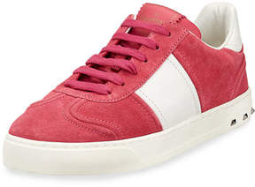 Valentino Fly Crew Suede Low-Top Sneakers