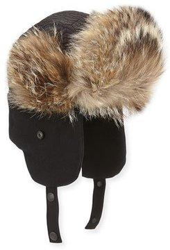 Moncler Fur-Trim Trapper Hat, Black