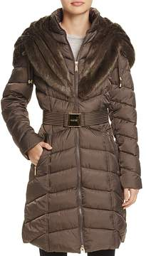 Laundry by Shelli Segal Faux Fur Trim Belted Puffer Coat