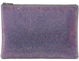 Neiman Marcus Rainbow Crystal Beaded Flat Pouch Bag