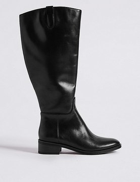 Marks and Spencer Leather Block Heel Rider Knee High Boots