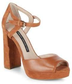 French Connection Ankle-Strap Leather Block Heel Sandals