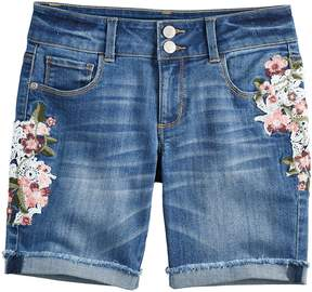 Mudd Girls 7-16 & Plus Size Embroidered Floral Denim Bermuda Shorts