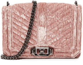 Rebecca Minkoff Crushed Velvet Chevron Quilted Small Love Cross Body Bag