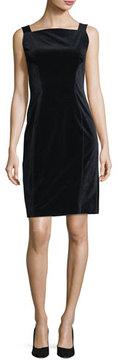 Elie Tahari Evra Square-Neck Velvet Dress w/ Leather Shoulder Straps
