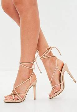 Missguided Nude Tie Up Gladiator Sandals