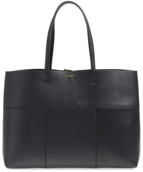 Tory Burch 'Block-T' Leather Tote - Brown