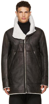 Rick Owens Black Shearling Showtek Jacket