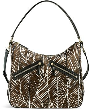 Vera Bradley Vivian Hobo Bag - BANANA LEAVES BROWN WITH BLACK - STYLE