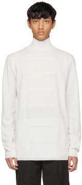 Rick Owens White Oversized Merino Geo Turtleneck