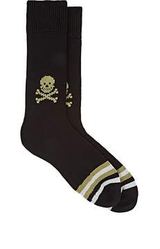 Corgi Men's Skull-Knit Cotton Mid-Calf Socks