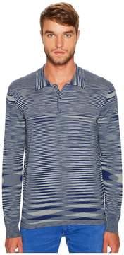 Missoni Fiammato Rigato Long Sleeve Knit Polo Men's Sweater