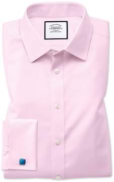 Charles Tyrwhitt Classic Fit Non-Iron Twill Pink Cotton Dress Shirt Single Cuff Size 15/34