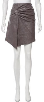Catherine Malandrino Ruched Leather Skirt w/ Tags