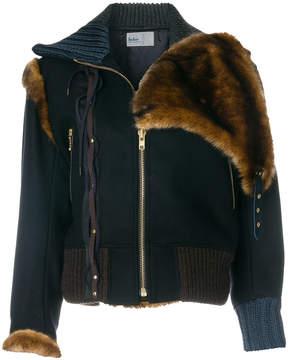 Kolor fitted fur collar jacket