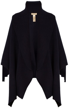 BURBERRY Ribbed-lapel wool and cashmere-blend poncho