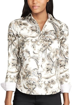 Chaps Women's Non-Iron Printed Button-Down Shirt