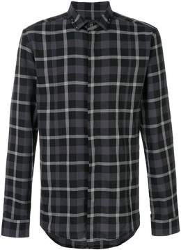 Les Hommes studded collar check shirt
