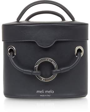 Meli-Melo Nancy Black Leather Cylindrical Bag