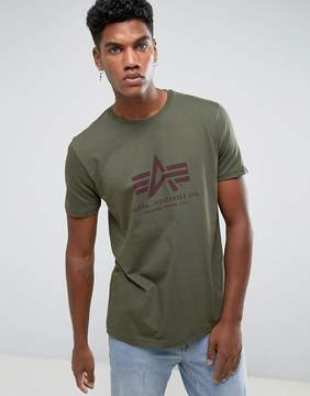 Alpha Industries Logo T-Shirt Regular Fit in Dark Green