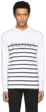 Balmain White and Black Striped Jersey Logo Hoodie