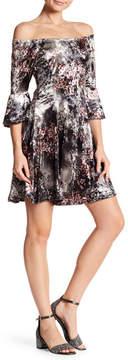 Angie Off-the-Shoulder Bell Sleeve Floral Crushed Velvet Dress