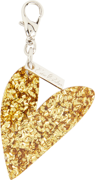 Edie Parker Gold Confetti Heart Charm