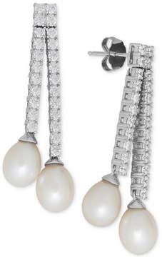 Arabella Cultured Freshwater Pearl (7mm) and Swarovski Zirconia Drop Earrings in Sterling Silver