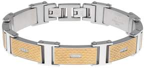 Lynx Men's Stainless Steel & Gold Ion Textured Bracelet