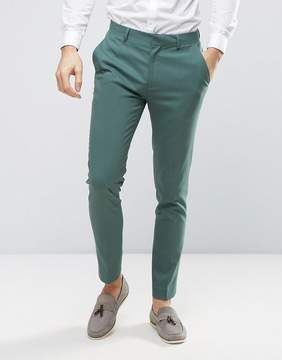 Asos Wedding Skinny Suit Pants In Pine Green
