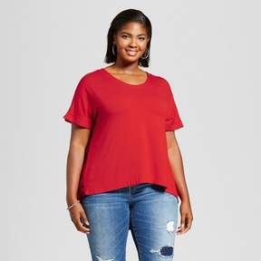Ava & Viv Women's Plus Size Mixed Media T-Shirt with Floral Print Red