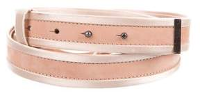 Lanvin Satin-Trimmed Nubuck Belt w/ Tags