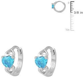 Ice 14K White Gold Baby Heart Huggie Hoop Earrings For Girls