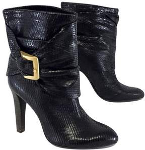BCBGMAXAZRIA Black Snakeskin Leather Ankle Boots