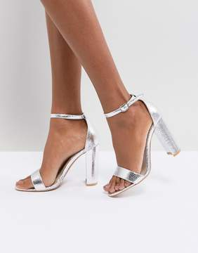 Glamorous Silver Barely There Block Heeled Sandals