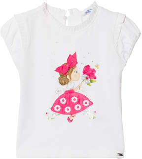 Mayoral White and Fuchsia Girl Print and Tulle Skirt Tee