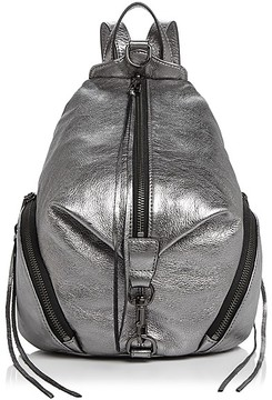 Rebecca Minkoff Julian Metallic Medium Leather Backpack - GUNMETAL GRAY/SILVER - STYLE