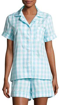 BedHead Gingham Shortie Pajama Set, Aqua, Plus Size