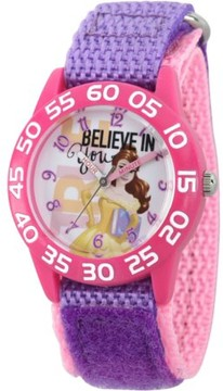 Disney Princess Belle Girls' Pink Plastic Time Teacher Watch, Purple Hook and Loop Nylon Strap with Pink Backing