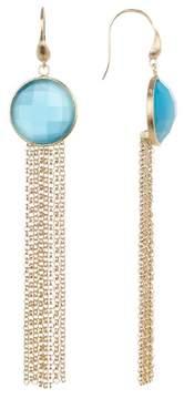 Rivka Friedman Blue Cat's Eye Fringe Dangle Earrings