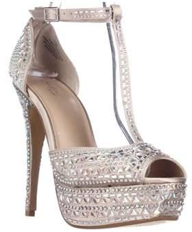 Thalia Sodi Ts35 Flor Rhinestone Peep Toe Platform Dress Sandals, Champagne.