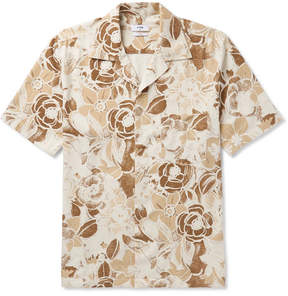 Cmmn Swdn Camp-Collar Floral-Print Slub Silk Shirt