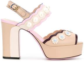 Fendi scalloped open toe sandals