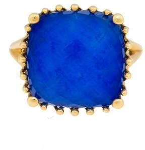 Frederic Sage 18k Yg Small Cushion Lapis and Crystal, No Diamond Tivoli Ring