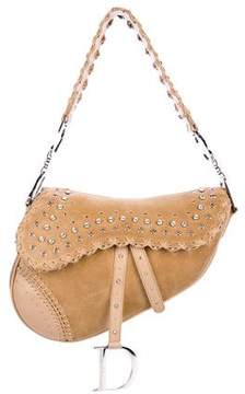 Christian Dior Crystal-Embellished Suede Saddle Bag