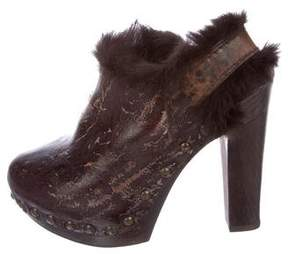 Henry Beguelin Fur-Trimmed Leather Booties
